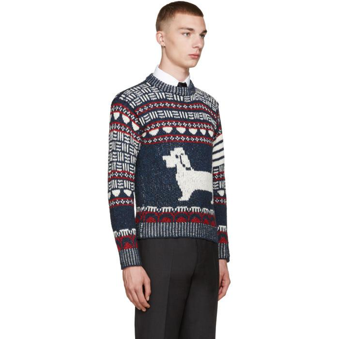 Thom browne Frayed Edge Waffle Pullover in Blue   Lyst