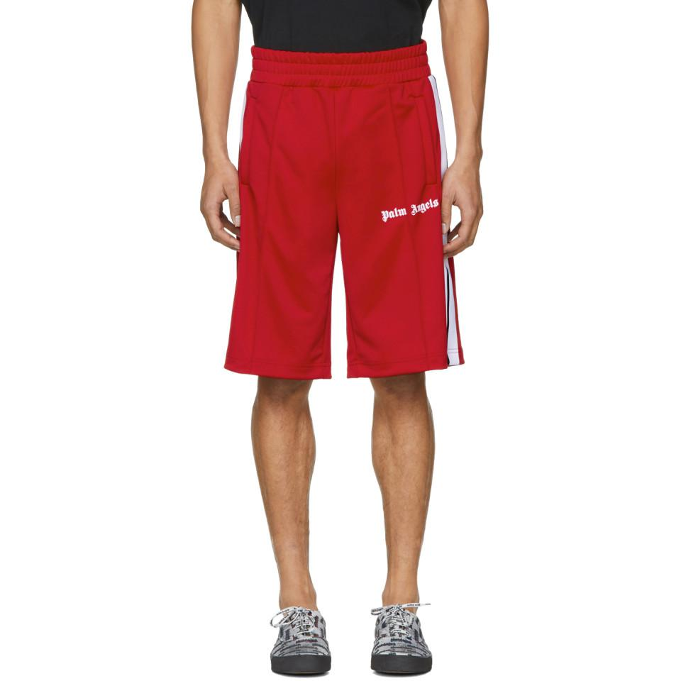 25a0d135e9 Palm Angels Red And White Track Shorts in Red for Men - Lyst