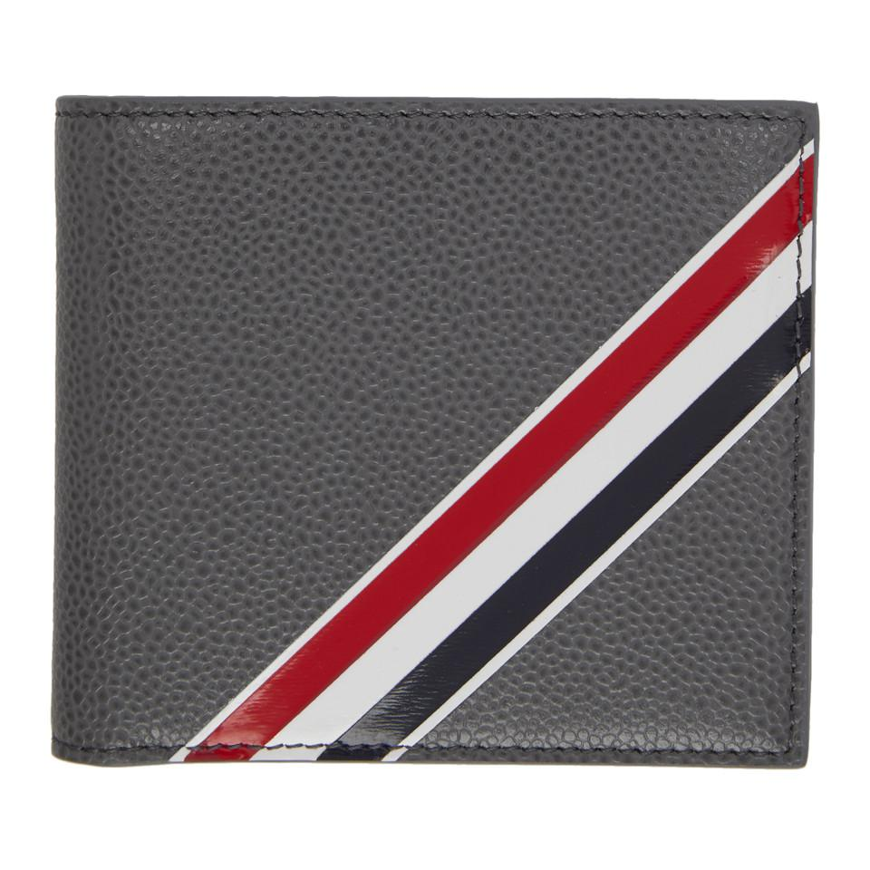 ddecdd5fb48 Thom Browne Grey Striped Bifold Wallet in Gray for Men - Save 18% - Lyst