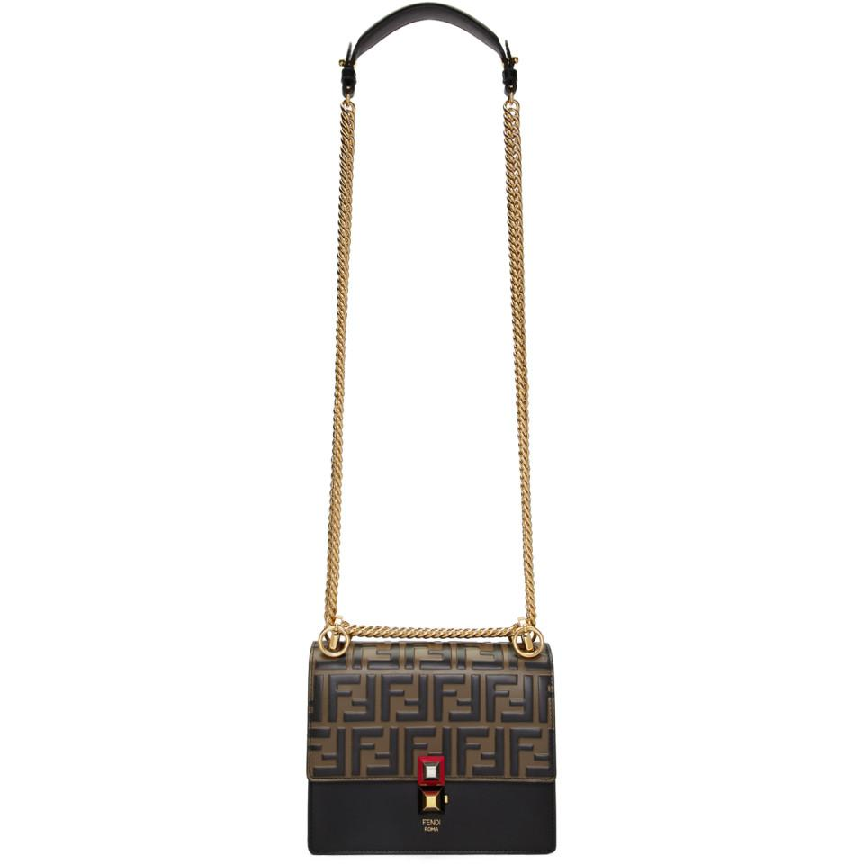 fcad1e60 Fendi Brown And Black Small Forever Kan I Bag in Brown - Lyst