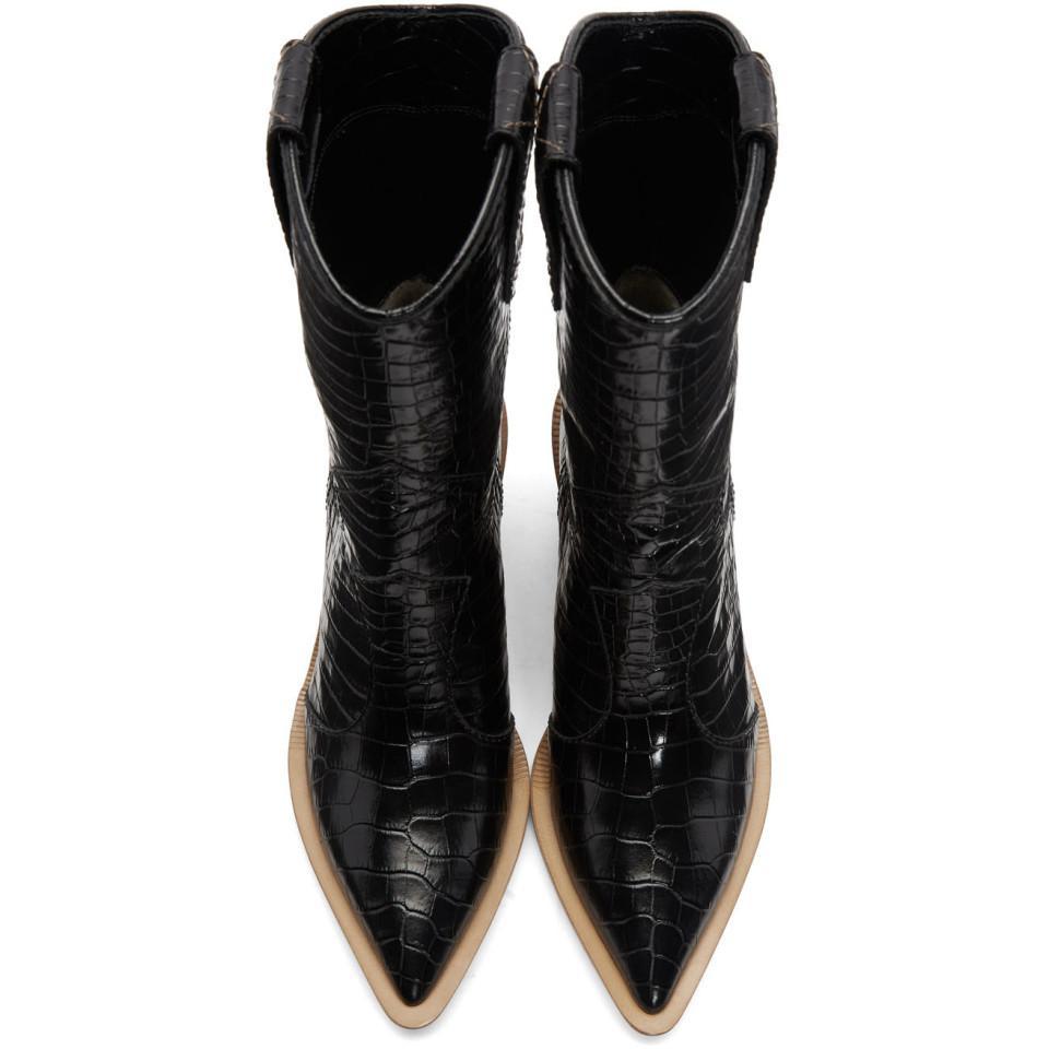 3800d0ed22edd Fendi - Ssense Exclusive Black Croc Cowboy Boots - Lyst. View fullscreen