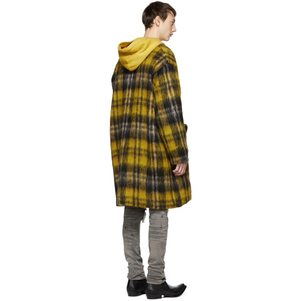 b82c7653956 Amiri Yellow Mohair Cardigan Coat in Yellow for Men - Lyst