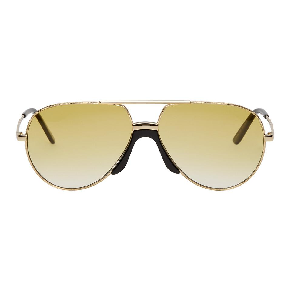 1fd170a3888 Gucci Gold And Black Pilot Sunglasses for Men - Lyst