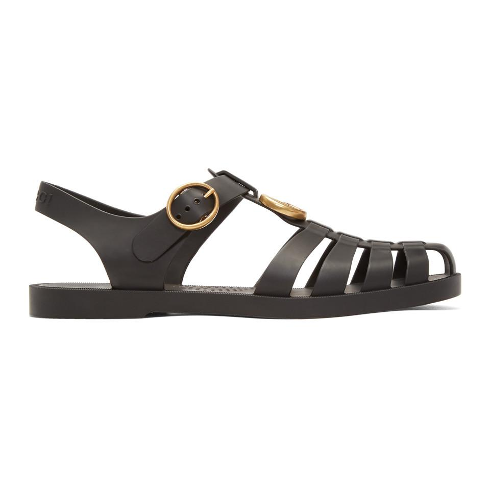 b376a2b9d3d6 Gucci Rubber Buckle Strap Sandals in Black for Men - Save 9% - Lyst
