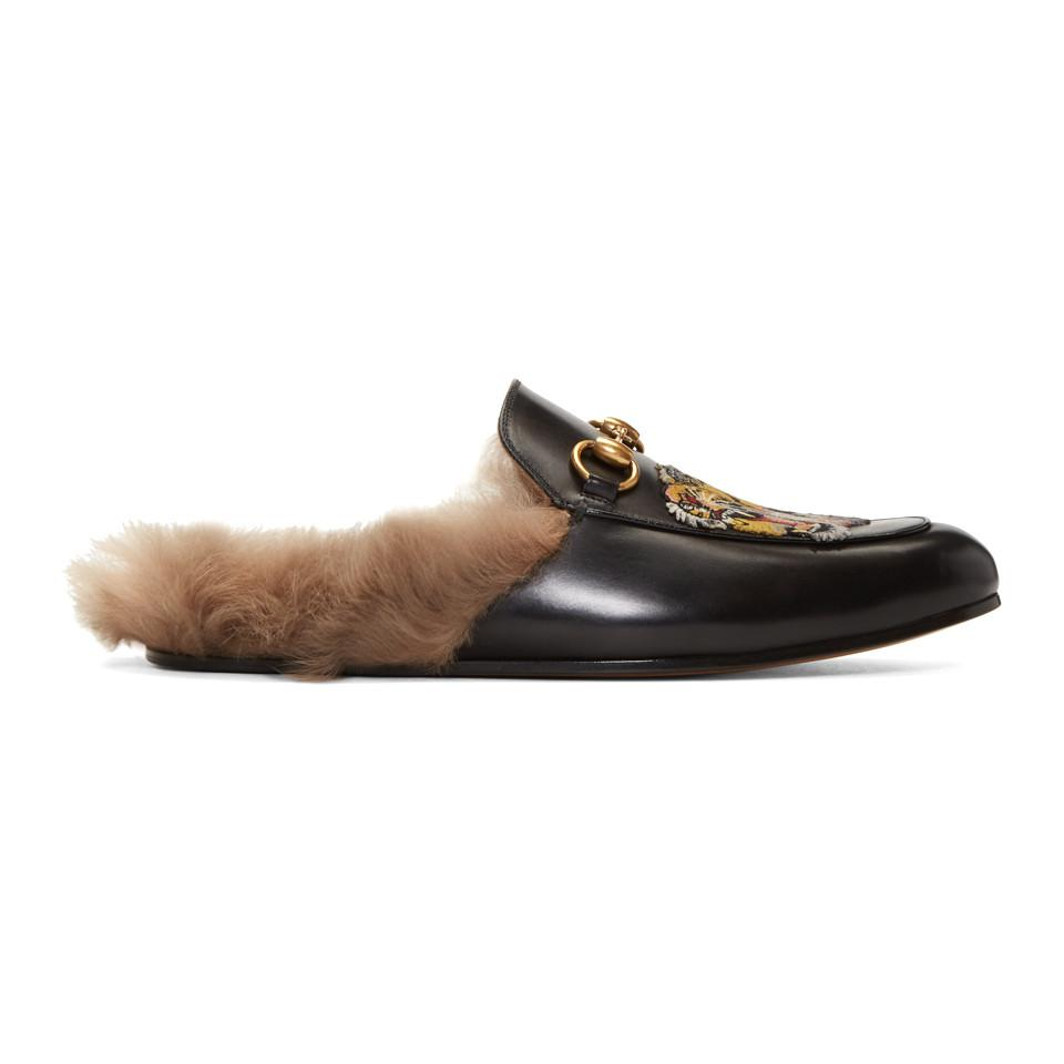 a1c3ef5b4753 Gucci Princetown Slipper With Tiger in Black for Men - Save 10% - Lyst