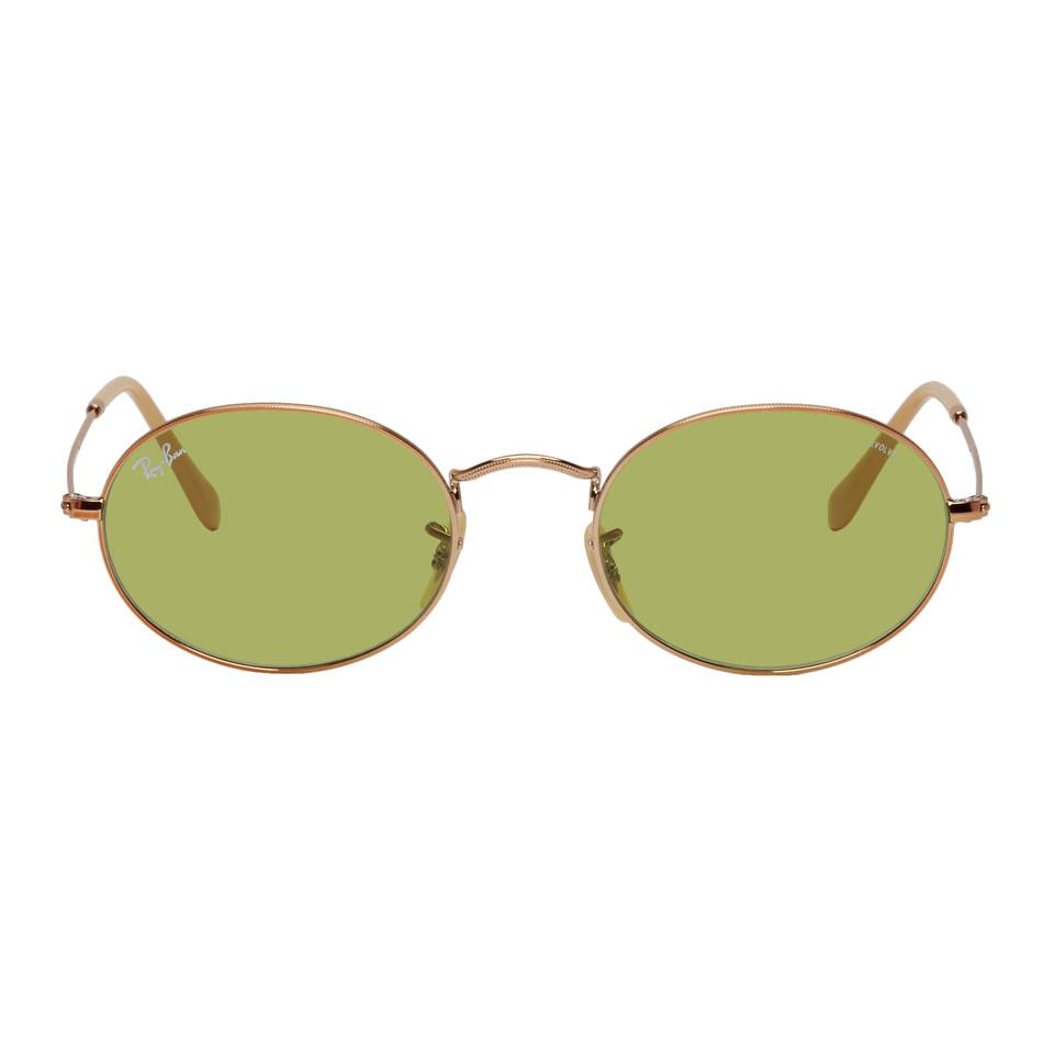 6f307041cb8ff Ray-Ban Copper And Green Oval Evolve Sungalsses for Men - Lyst