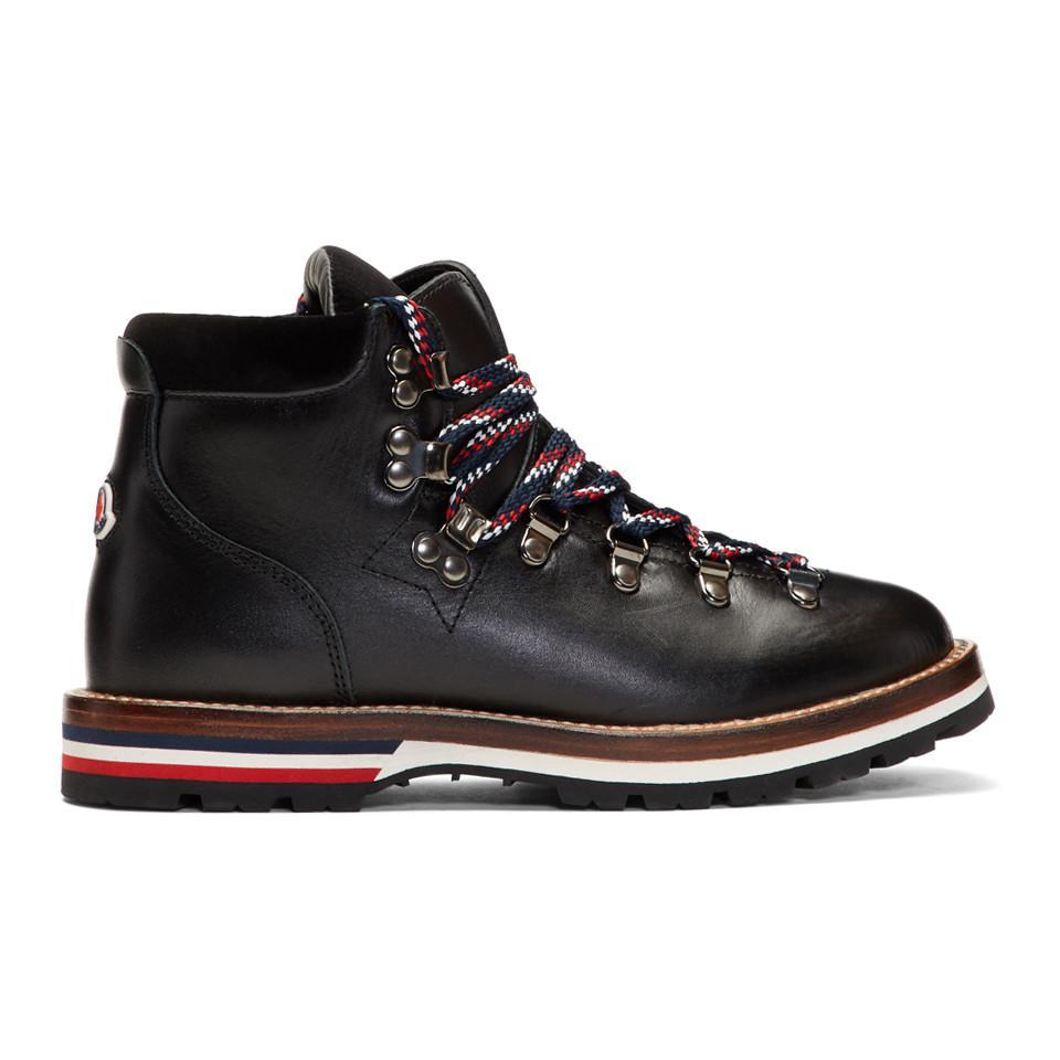 Lyst - Bottes en cuir et velours noires Hiking Moncler en coloris Noir 3b69a8bf255