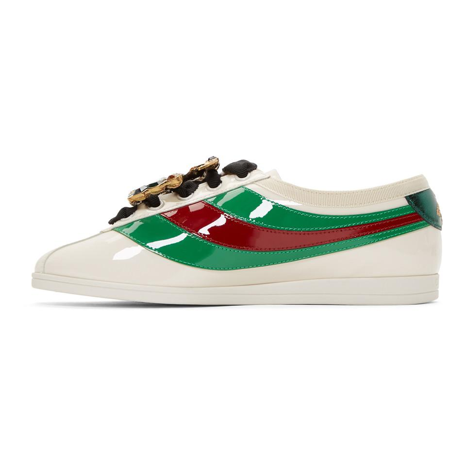 d5b75332fd9 Lyst - Gucci Ivory Falacer Bowling Sneakers in White