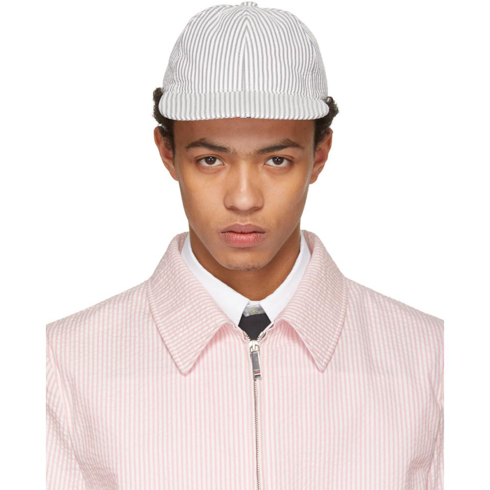Pink and White Seersucker Six-Panel Baseball Cap Thom Browne ST5K60sKHY