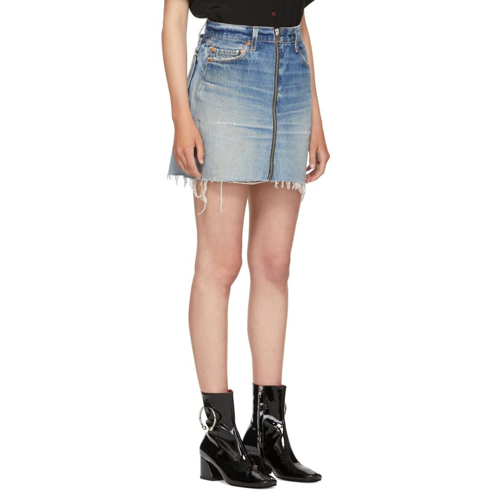 Levis Lyst Redone Edition Reconstructed Miniskirt Denim Blue xETCav