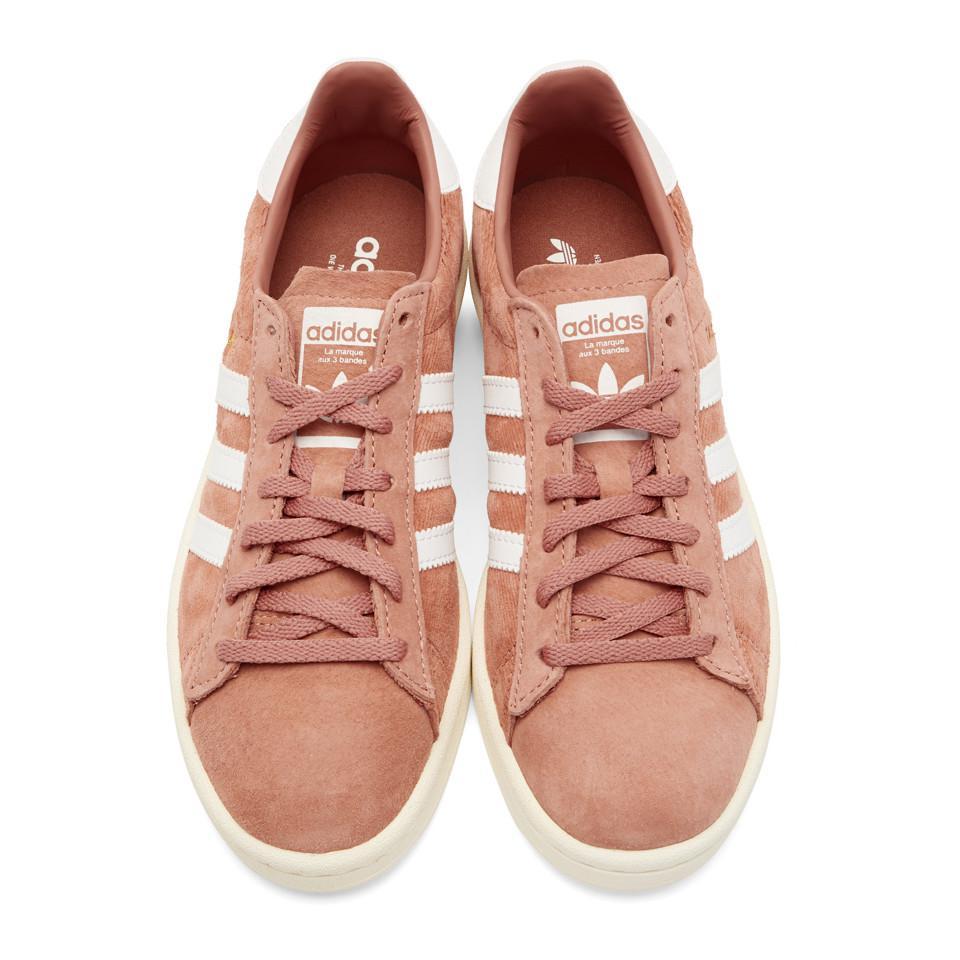 Pink and White Pigskin Nubuck Campus Sneakers adidas Originals T1LtD