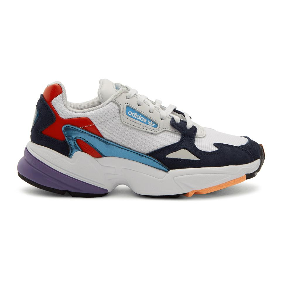 hot sale online b5899 92cf7 adidas Originals. Womens Blue White And Navy Falcon Sneakers