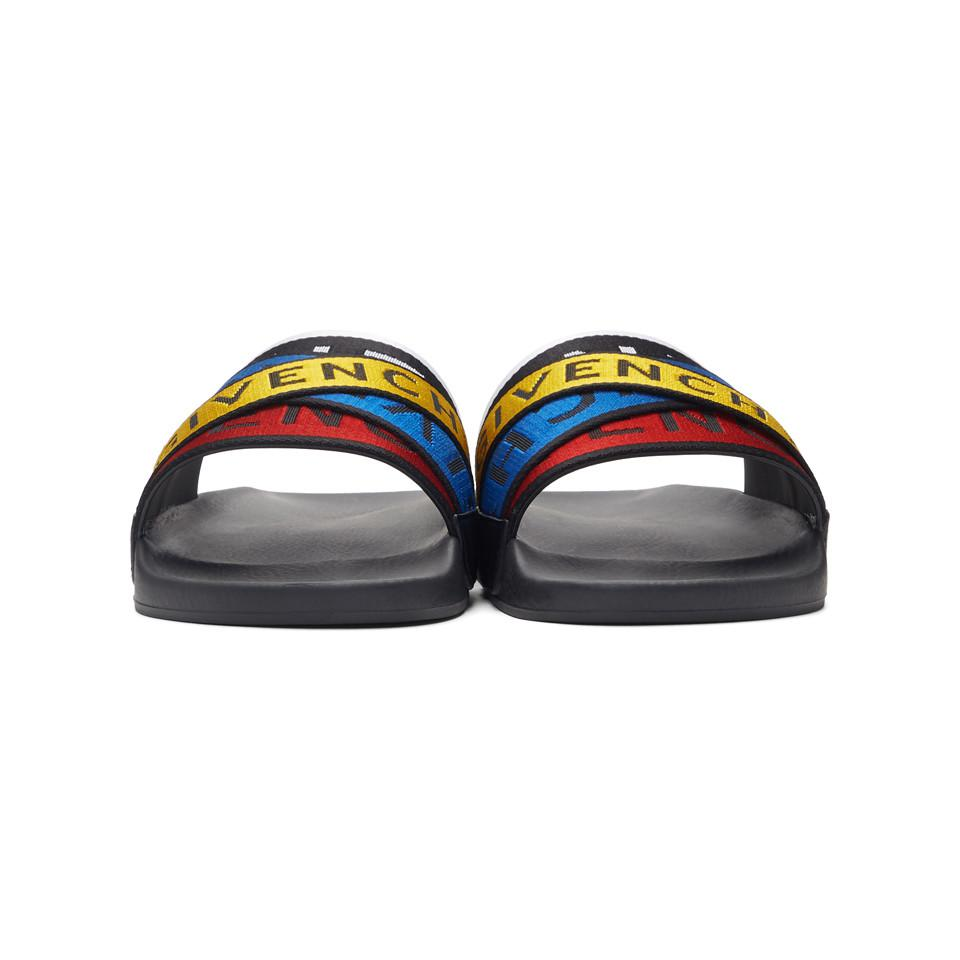 f8a5a6dcdad Lyst - Givenchy Multicolor 4g Webbing Pool Slides in Blue for Men