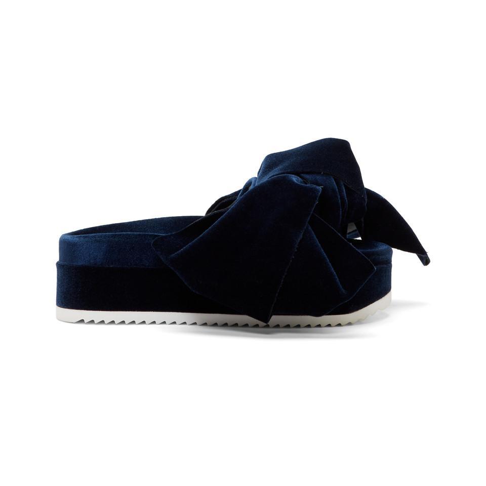 728d23c5019b Lyst - Joshua Sanders Navy Velvet Bow Platform Sandals in Blue