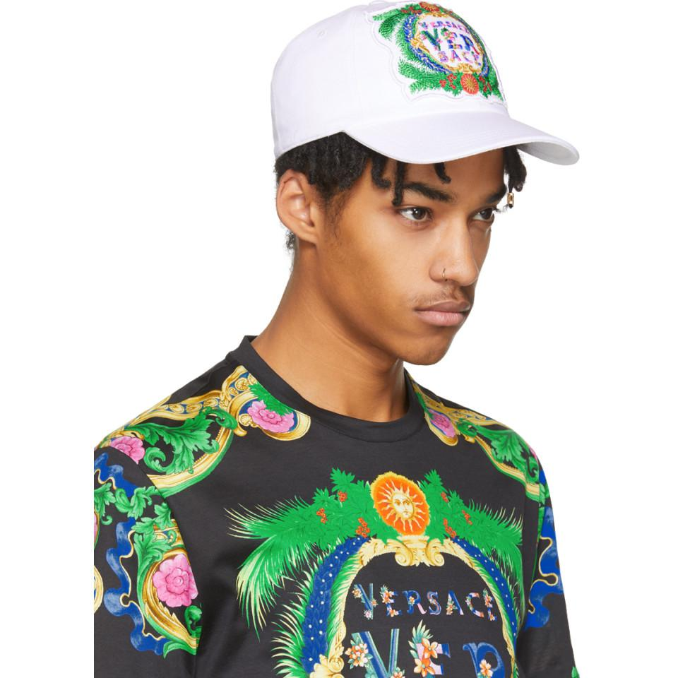 White Embroidered New Signature Cap Versace IoXly