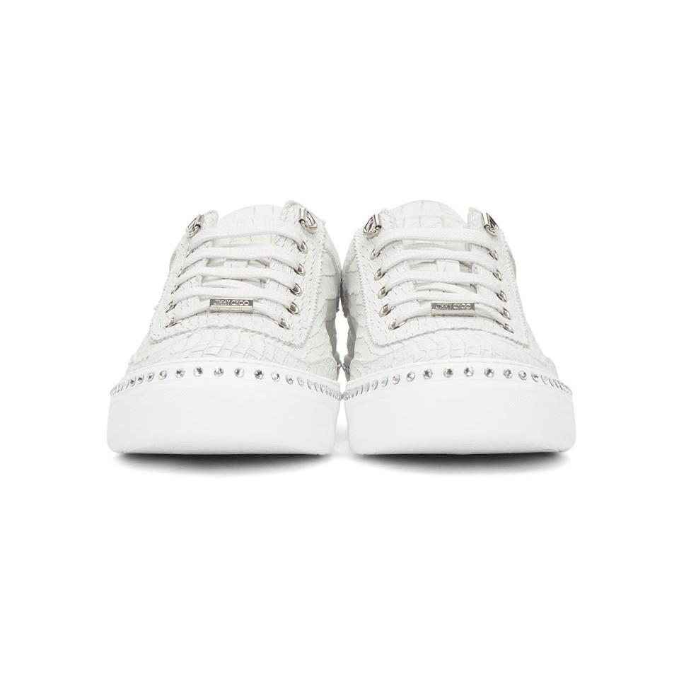 White Croc Crystal Ace Sneakers Jimmy Choo London