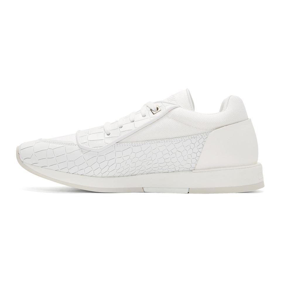 70e5c8a824a Lyst - Jimmy Choo White Croc Jett Sport Sneakers in White for Men