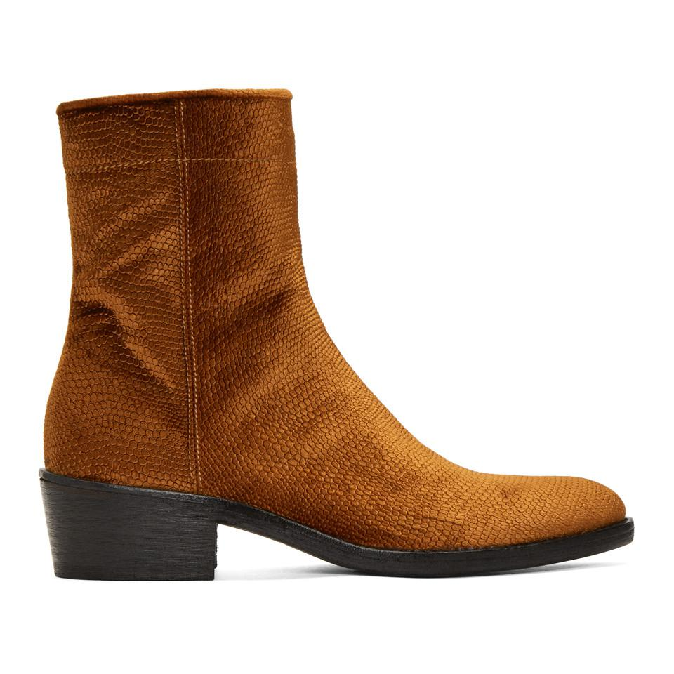 Haider Ackermann Velvet Celest Chunky Boots bas18MepVM