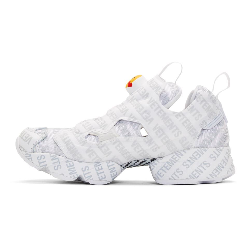 29d01cf5eac Vetements - White Reebok Classics Edition Logo Emoji Instapump Fury Sneakers  - Lyst. View fullscreen