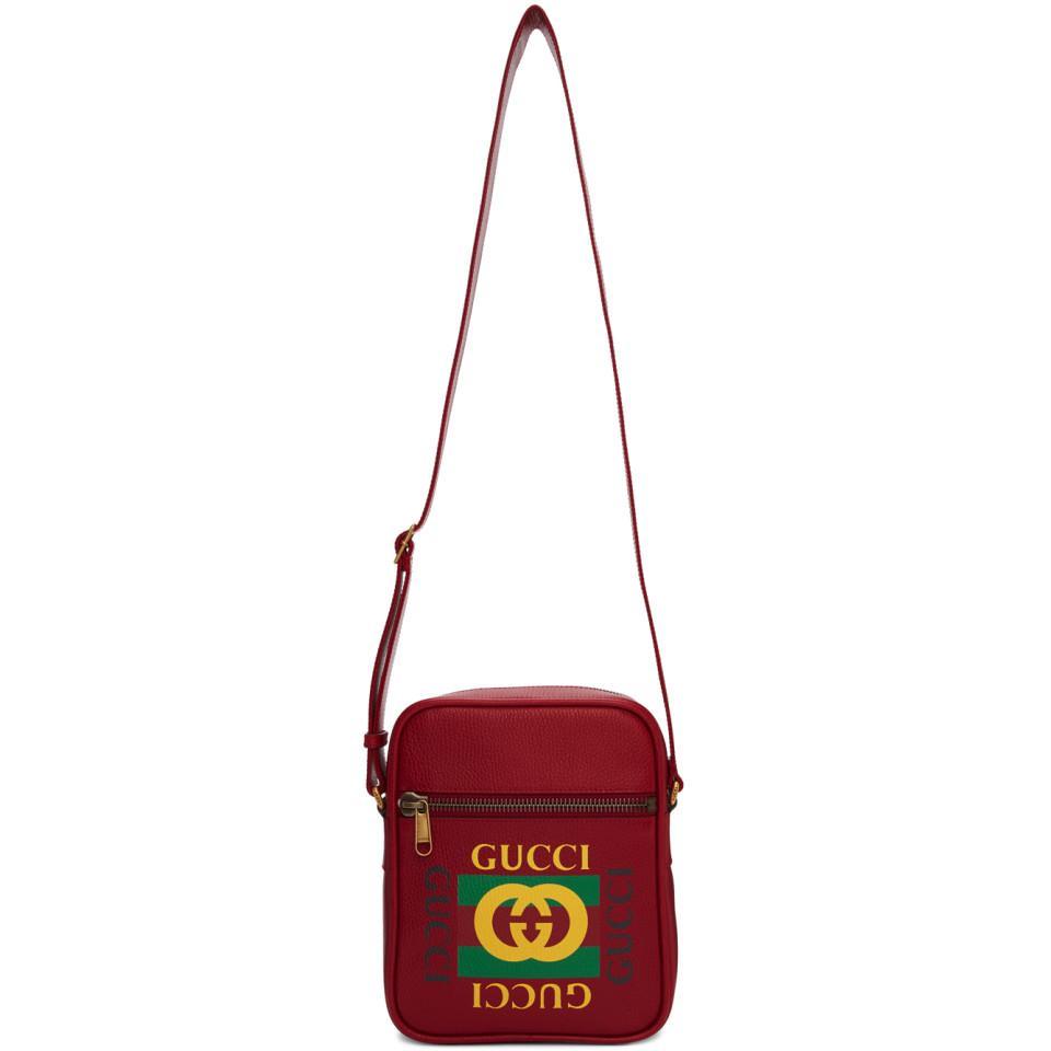 d511923f8 Gucci Red Vintage Logo Messenger Bag in Red for Men - Lyst