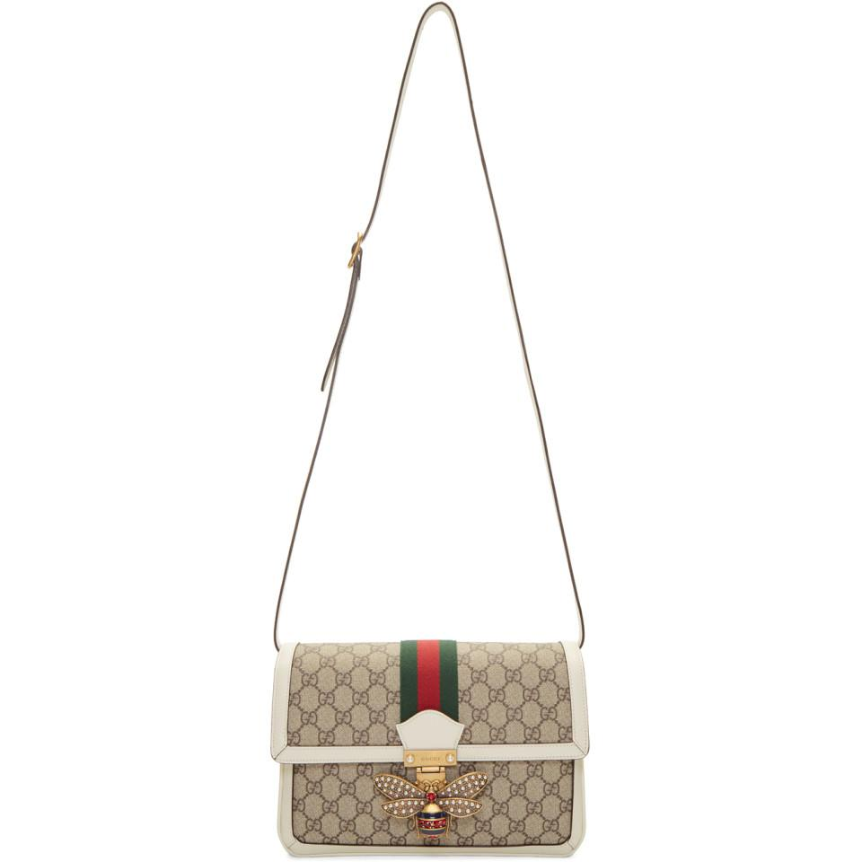 2bf41542a104 Lyst - Gucci Beige And White GG Queen Margaret Bag in Natural