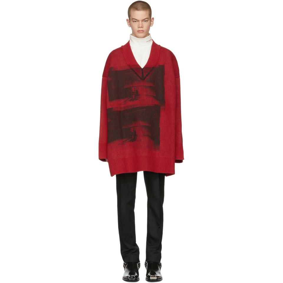 d015bf7f88 Lyst - CALVIN KLEIN 205W39NYC Red And Black Oversized V-neck Sweater ...