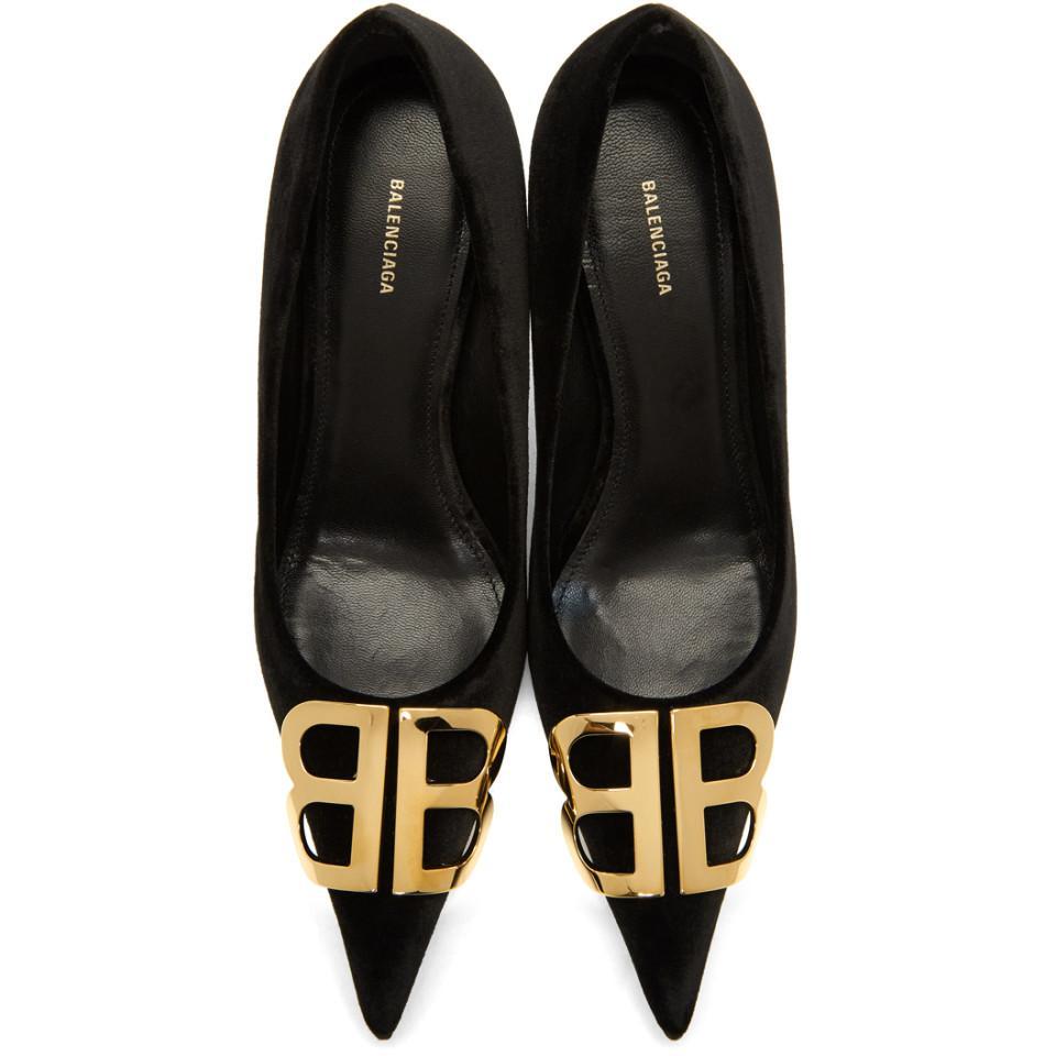 dc013094332 Lyst - Balenciaga Black Velvet Bb Heels in Black - Save 7%