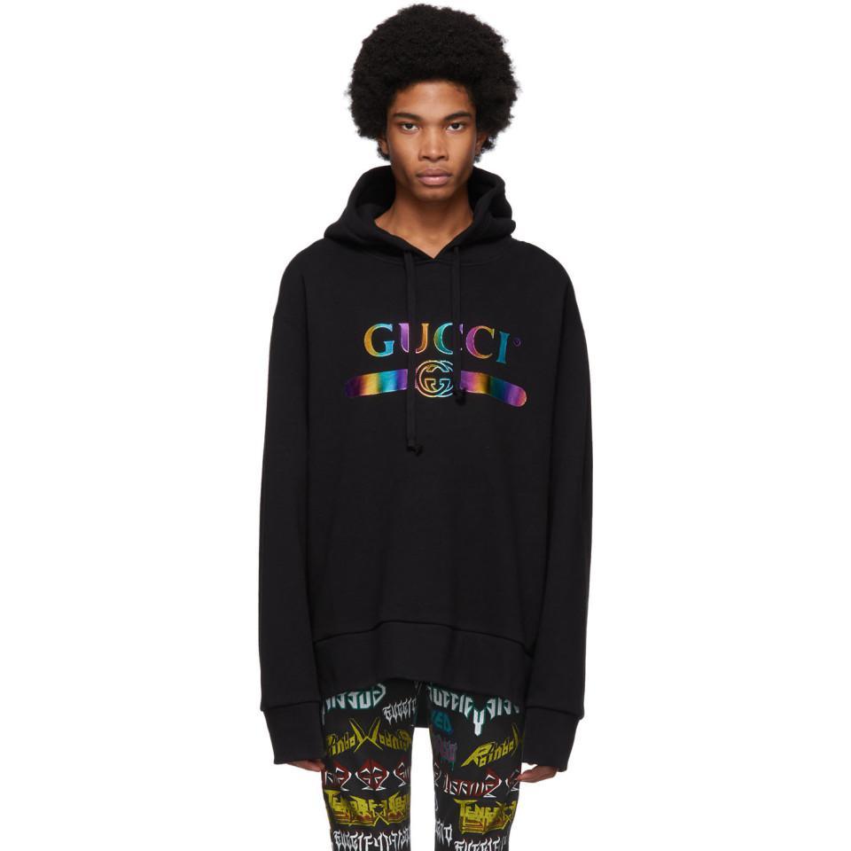 17fd1a0cbcf Gucci - Black Rainbow Logo Hoodie for Men - Lyst. View fullscreen