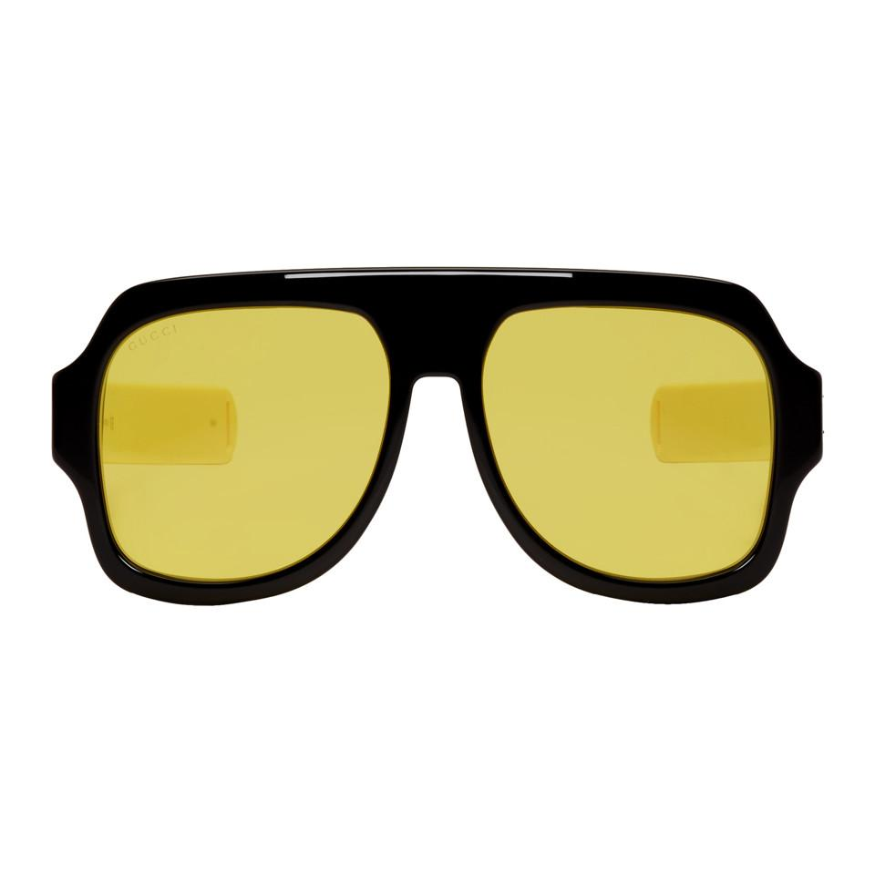 2127236fd0 Lyst - Gucci Black And Yellow Sport Sunglasses for Men