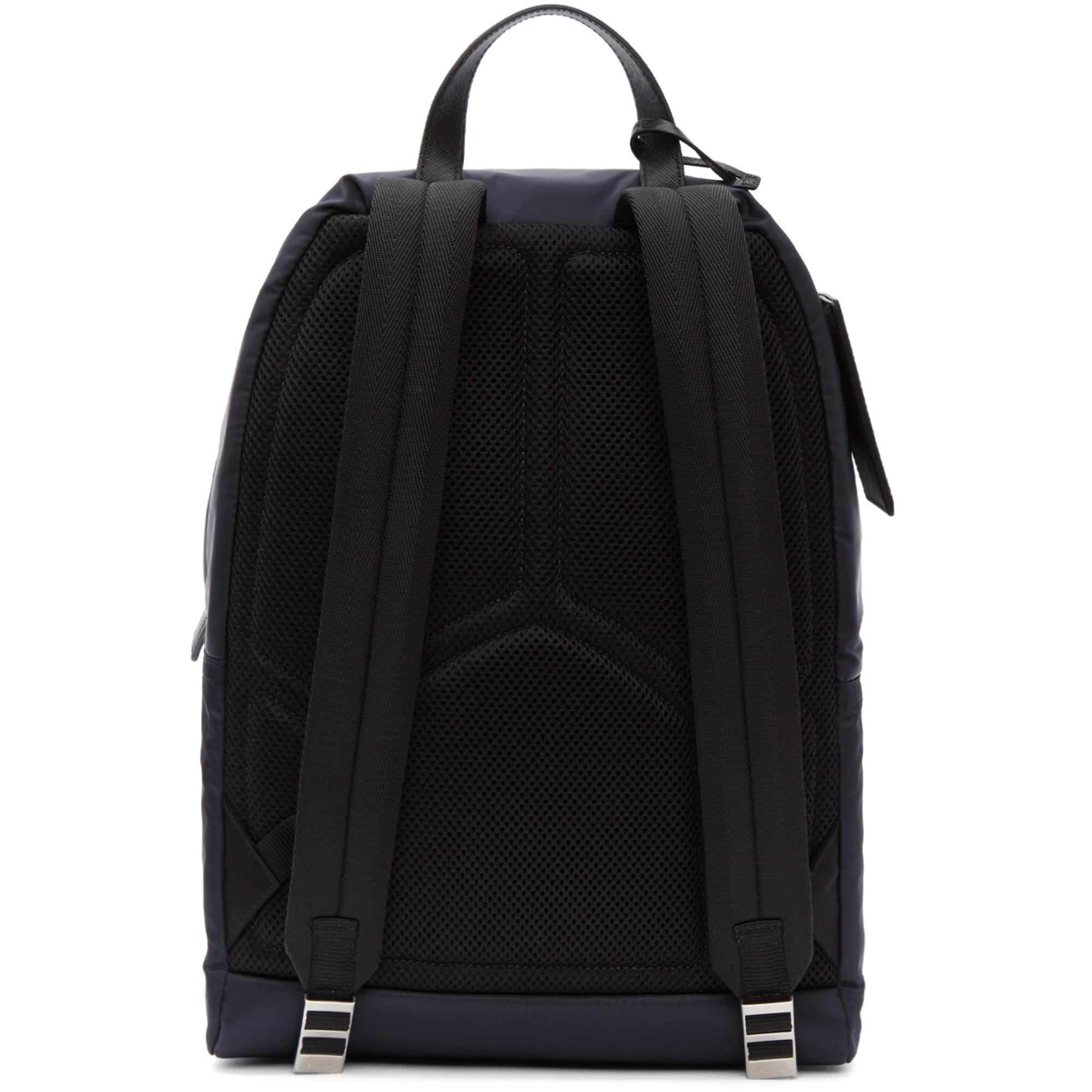 df7d2b16a2f20e Prada Navy Mountain Fabric Backpack in Blue for Men - Lyst