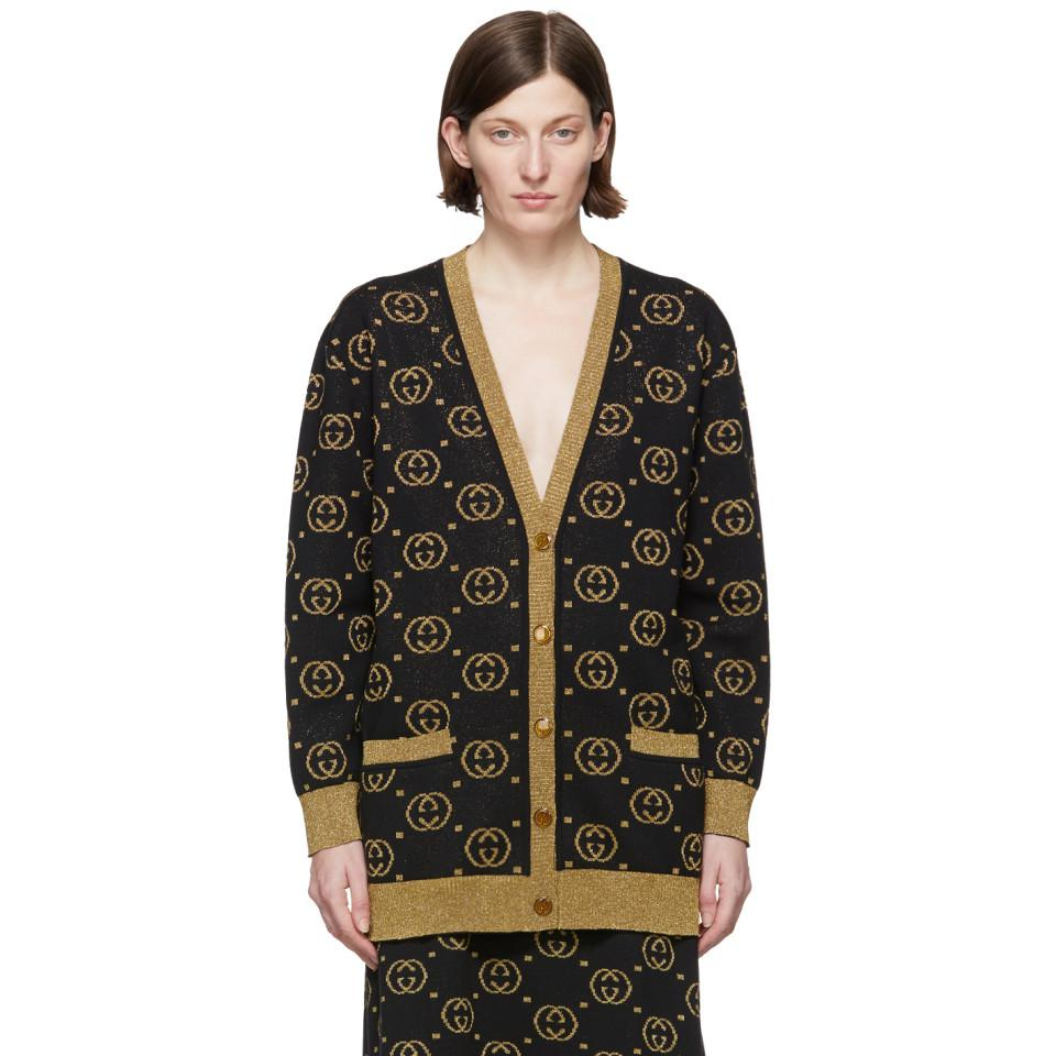 e236d61bfdd3d Gucci Black And Gold GG Motif Cardigan in Black - Save 13% - Lyst