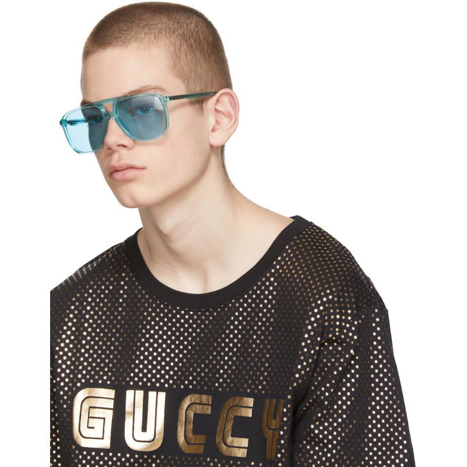 d0885b31b86 Lyst - Gucci Blue Transparent 80s Monocolor Sunglasses in Blue for Men