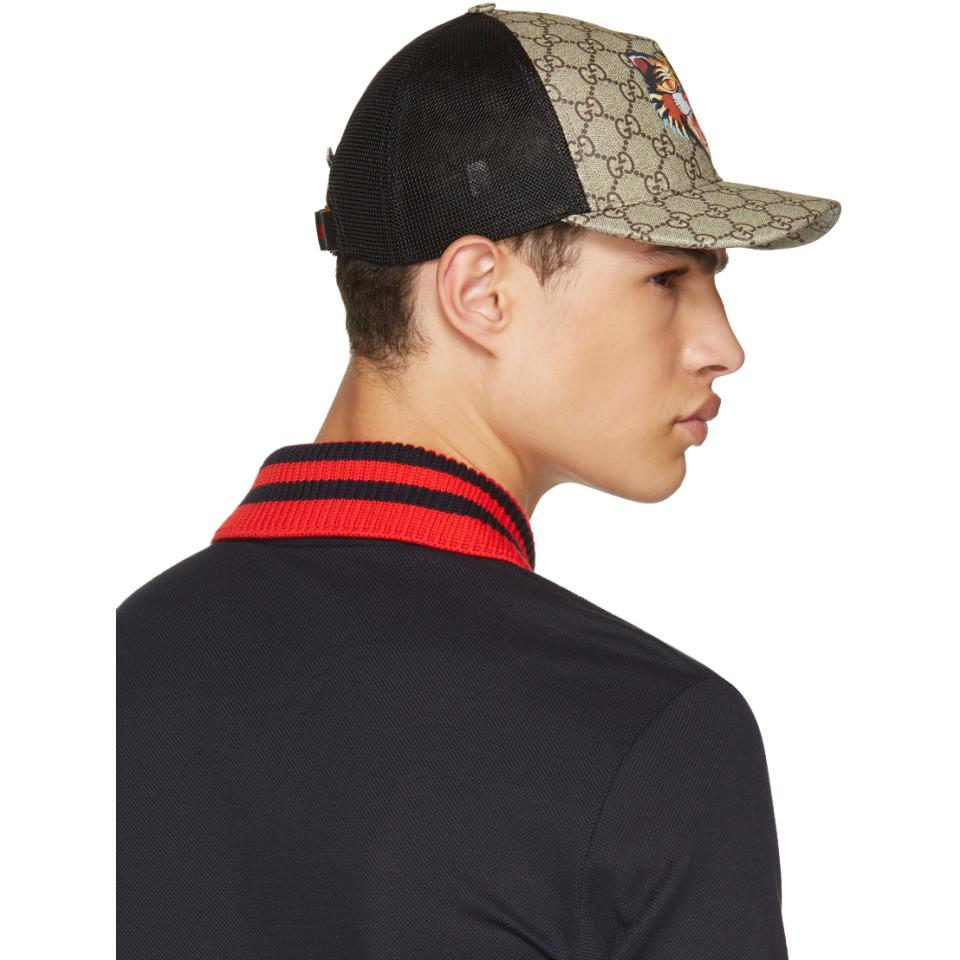 e1cf03e7784 Lyst - Gucci Brown Angry Cat Gg Supreme Baseball Cap in Brown for Men