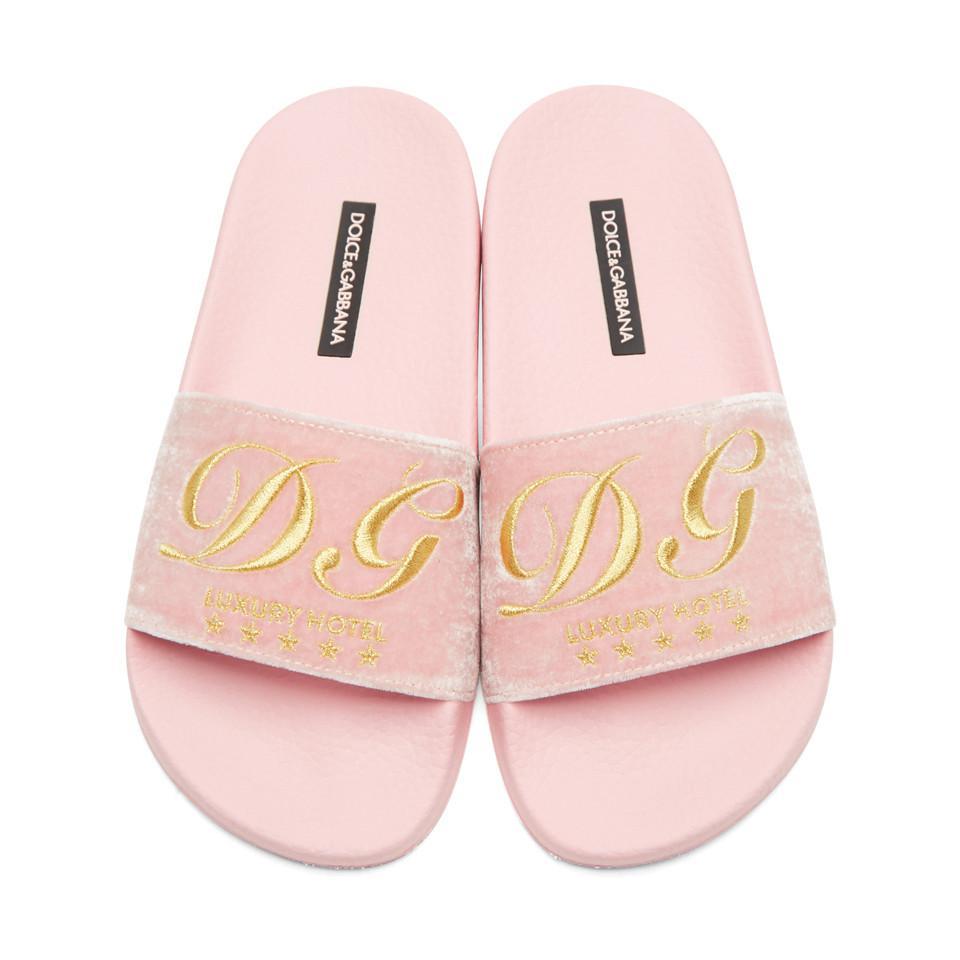 Dolce & Gabbana Dolce & Gabbana Luxury Hotel Velvet Slide Sandals
