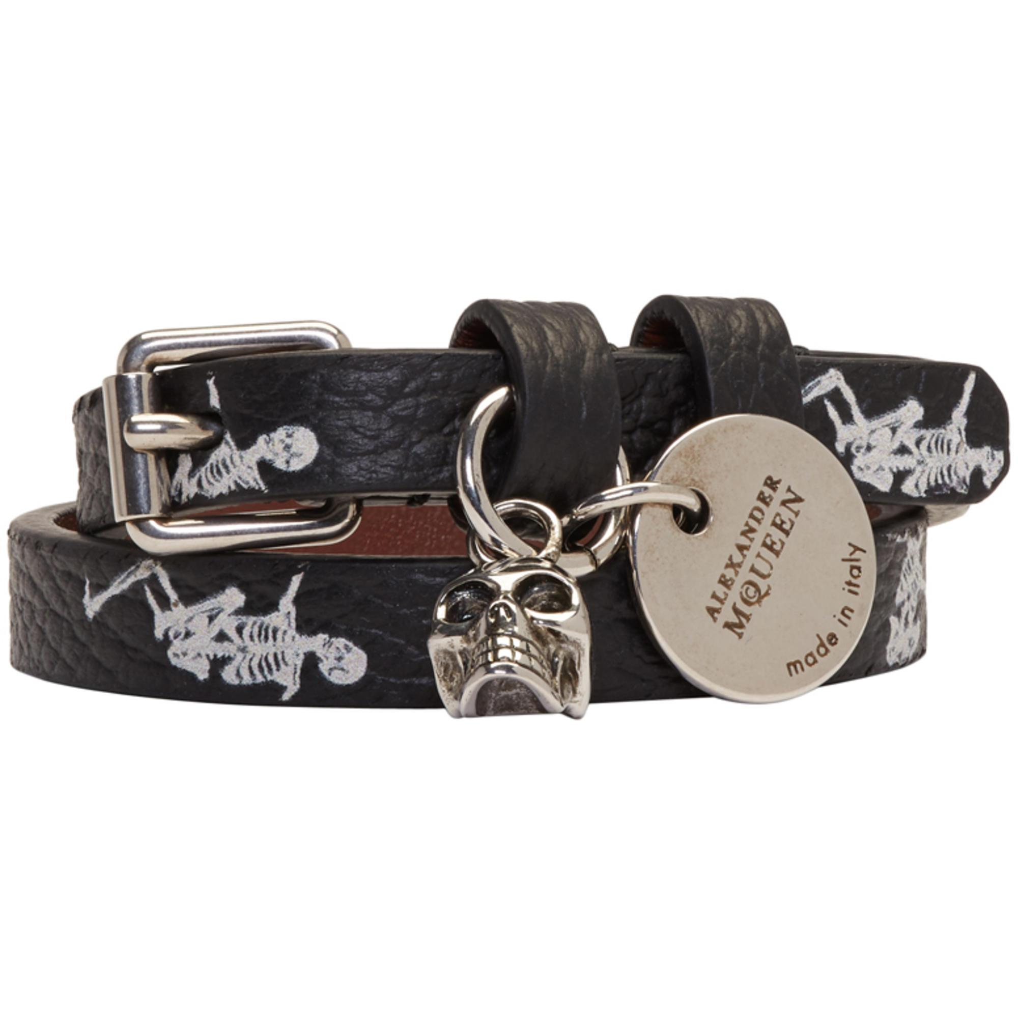 Alexander McQueen Mens Dancing-Skeleton Double-Wrap Bracelet