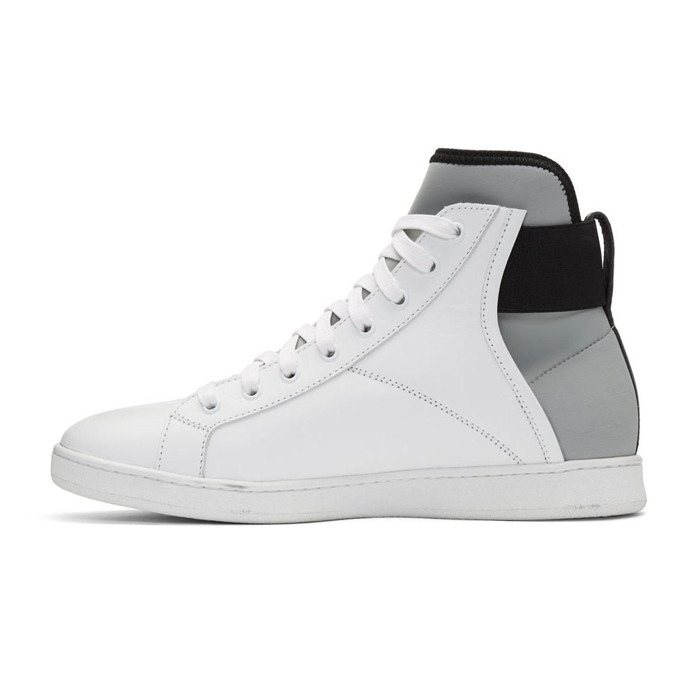 Diesel Black Gold White Leather & Neoprene Sneakers cUx587