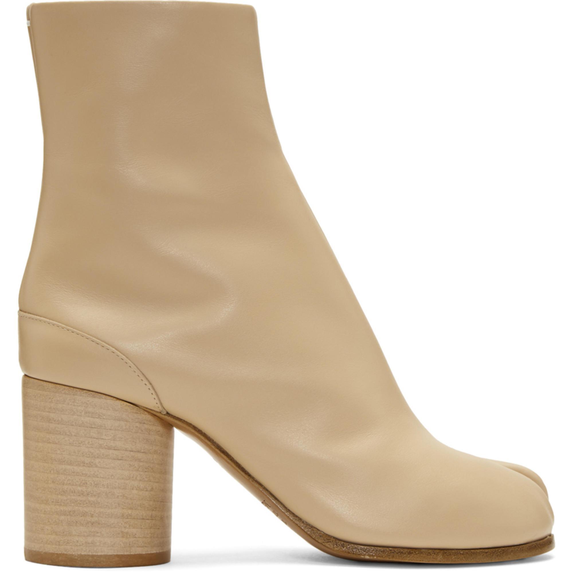 Saint Laurent Beige Leather Tabi Boots 2lR04M