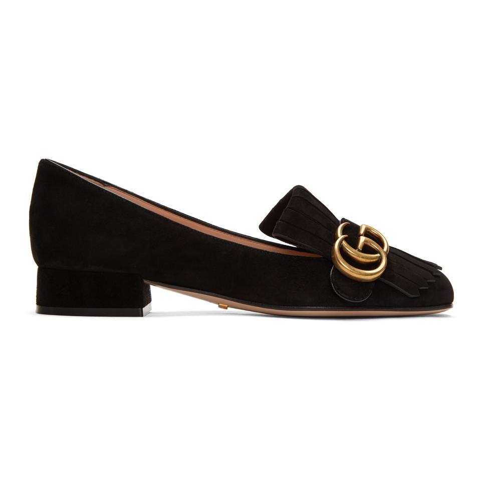 4e1085a2adb Gucci Black GG Marmont Loafers in Black - Lyst