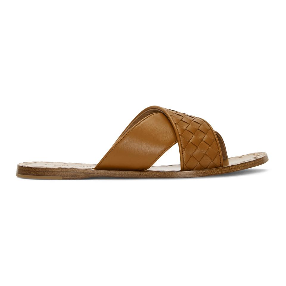 Tan Intrecciato Criss Cross Sandals Bottega Veneta Buy Online Buy Cheap Price Clearance Official For Nice Cheap Online Limited Edition Mwkg9zj