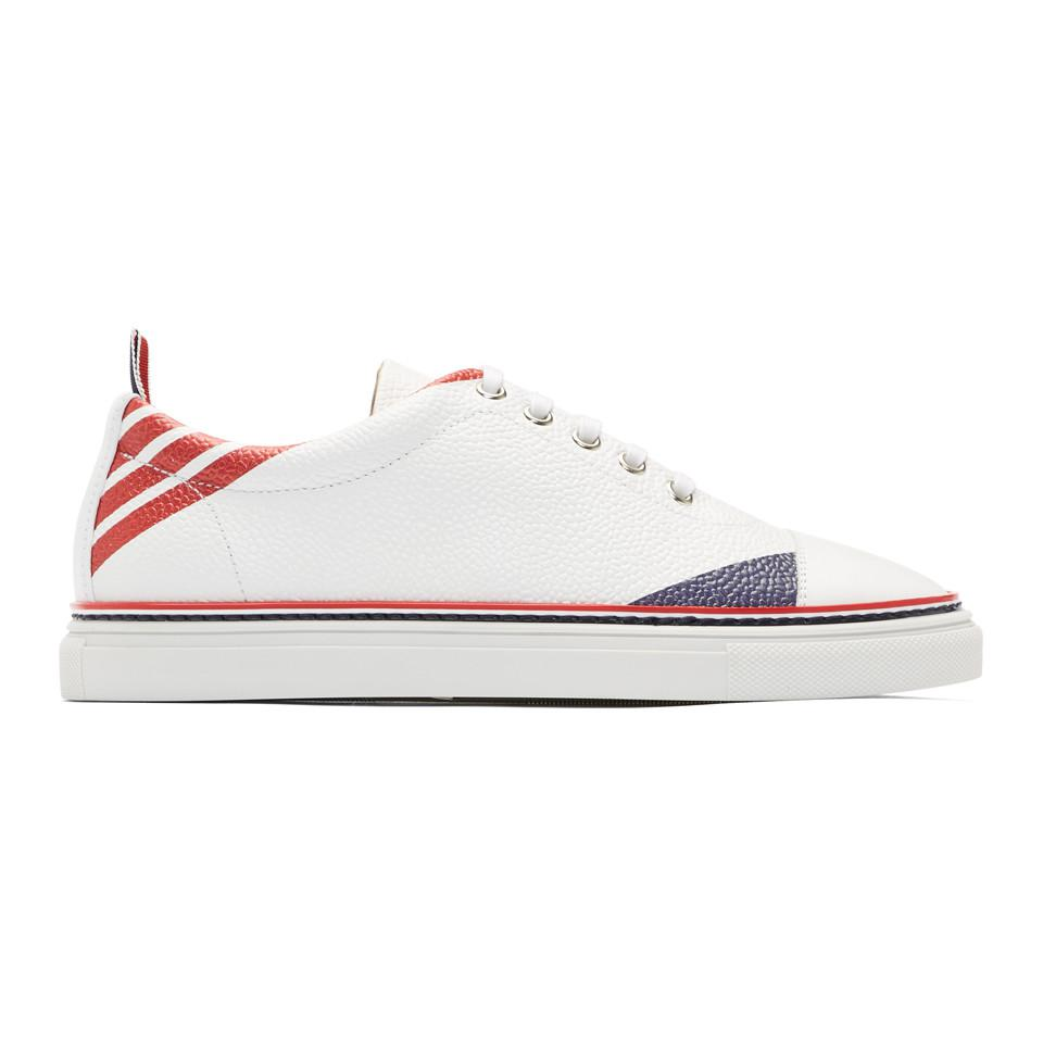 Thom BrowneRepp Stripe Straight Toe Cap Sneakers VF3vH1Q