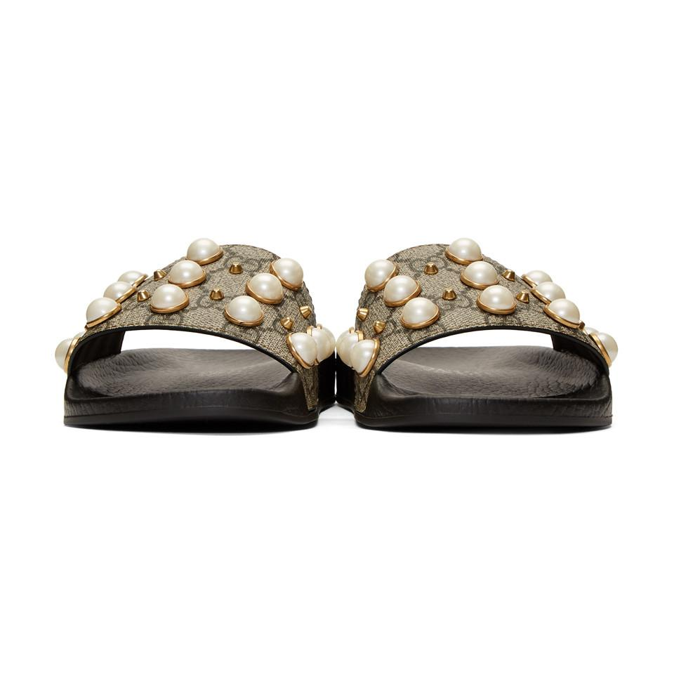 ef981f11cb19 Gucci - Natural Beige GG Supreme Pearls Pursuit Slides - Lyst. View  fullscreen