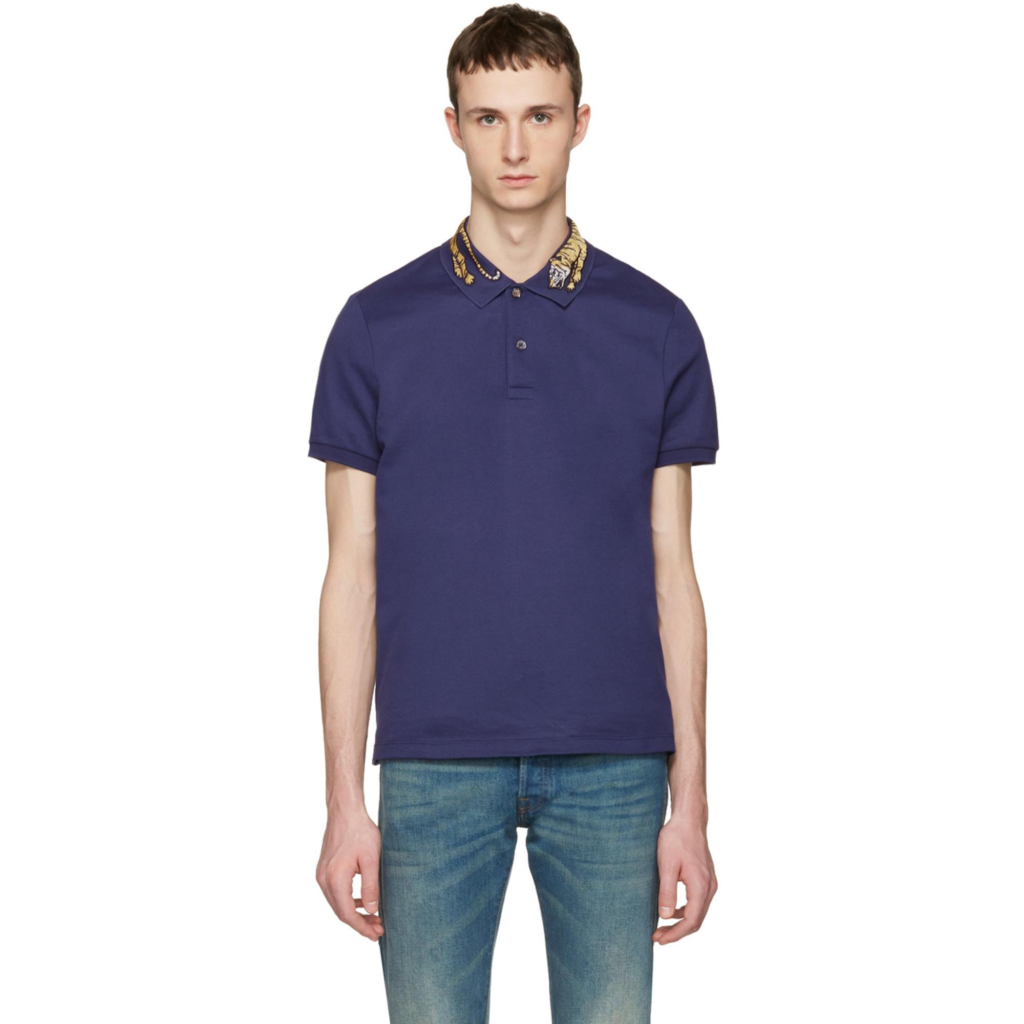 674a0af982e Gucci Navy Tiger Polo in Blue for Men - Lyst