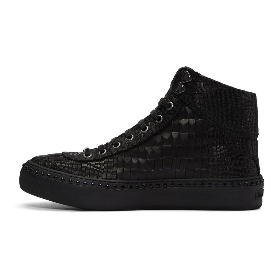 Sneakers ARGYLE high top leather black velvet grey Jimmy Choo London mb0NC