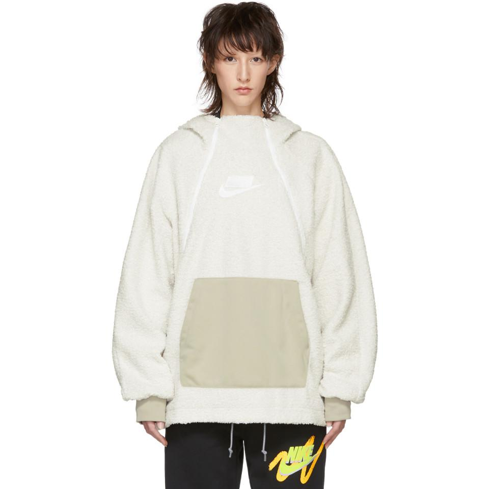 d02dab1f Nike Off-white Sherpa Nsw Hoodie in White - Lyst