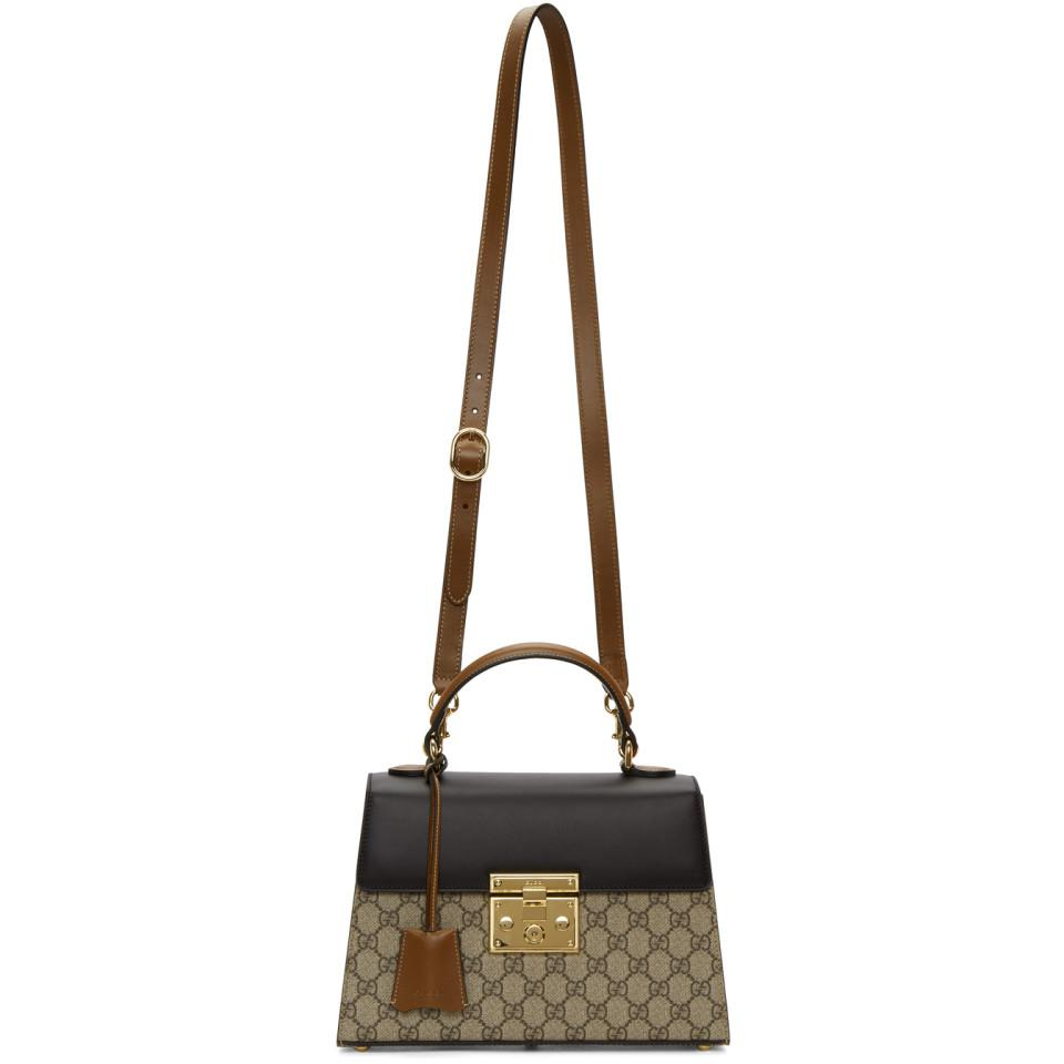 a643106d2355 Gucci - Brown Beige Small GG Supreme Padlock Bag - Lyst. View fullscreen