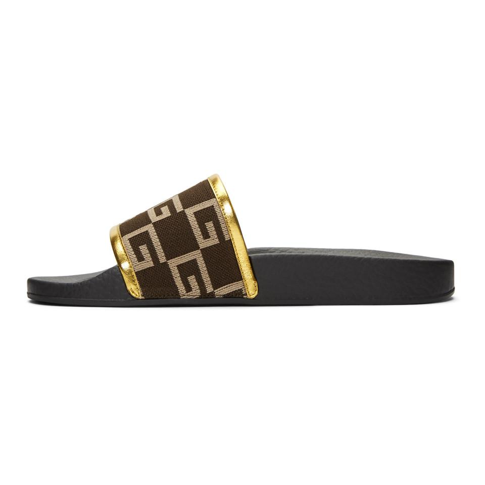 Gucci Brown Pursuit Logo Slides v9Z548W