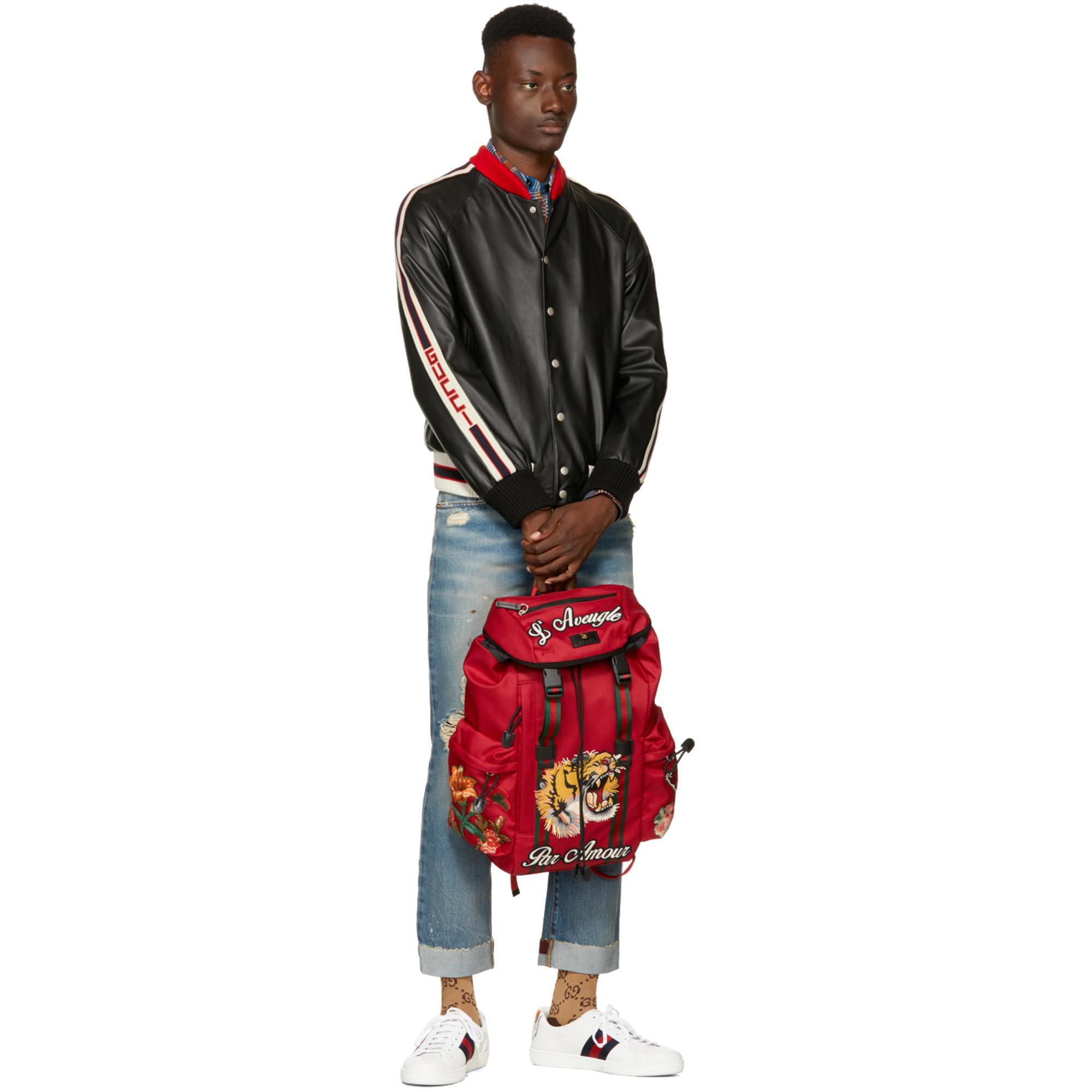 Lyst - Sac a dos rouge LAveugle Par Amour Techpack Gucci pour homme ... 808c1e865bc