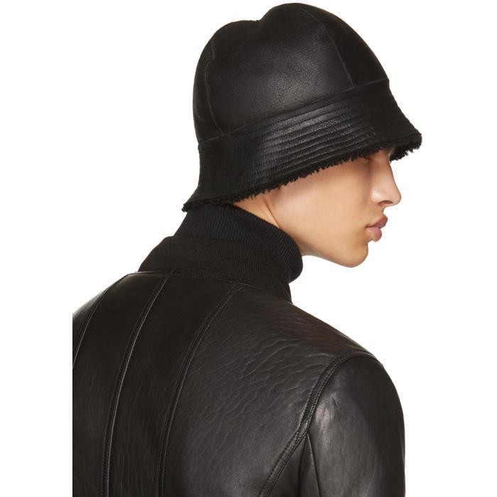 671da1ae31b Lyst - Rick Owens Black Shearling Gilligan Bucket Hat in Black for Men