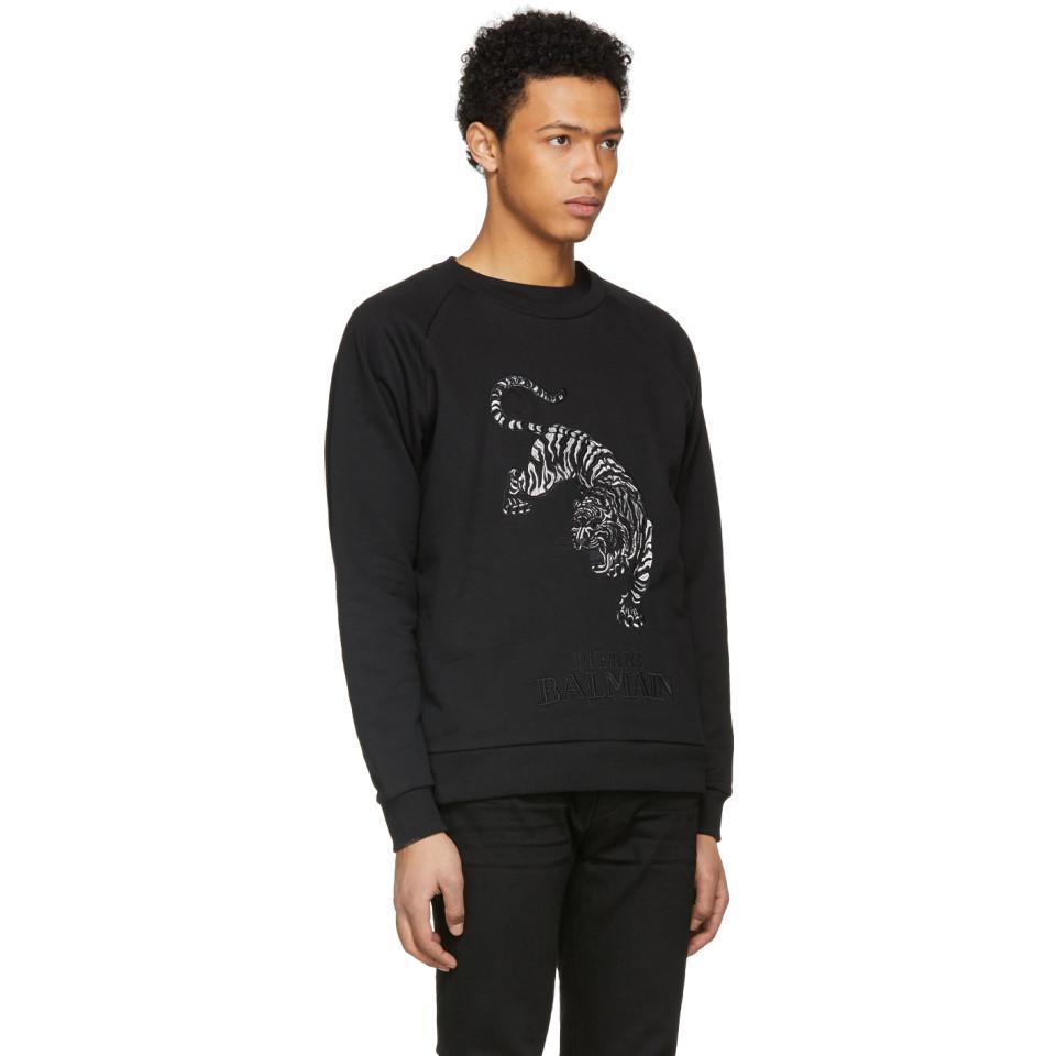 Balmain Black Embroidered Tiger Sweatshirt in Black for Men - Lyst 24a0ea9d4