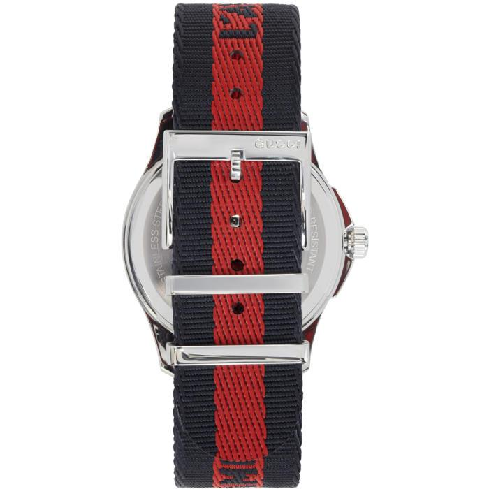 99ca76a95b2 Lyst - Gucci Silver   Navy  l aveugle Par Amour  Tiger Watch in ...